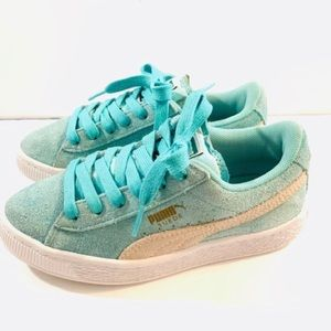 PUMA Girls Athletic Shoes Suede Sea Glass Green